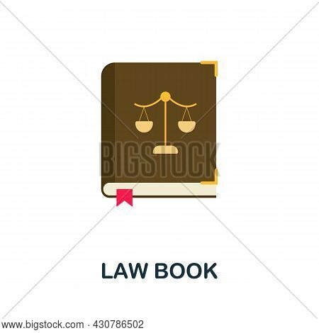 Law Book Icon. Flat Sign Element From Law Collection. Creative Law Book Icon For Web Design, Templat
