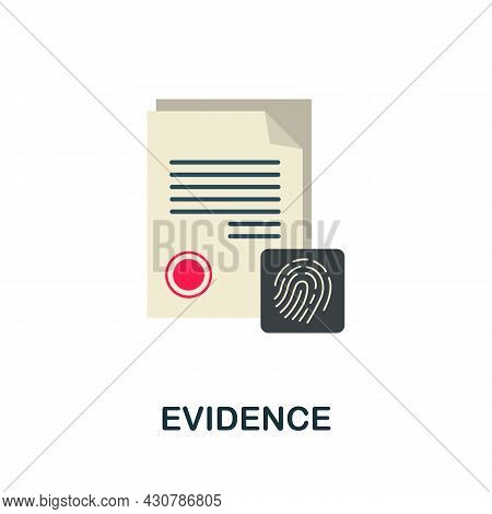 Evidence Icon. Flat Sign Element From Law Collection. Creative Evidence Icon For Web Design, Templat
