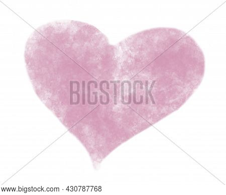 Watercolor Hand Painted Cute Pink Heart. Water Colour Illustration On White Isolated Background For