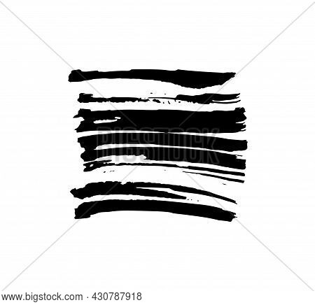 Grunge Paint Stripe. Vector Brush Stroke. Distressed Banner. Black Isolated Paintbrush Collection. M