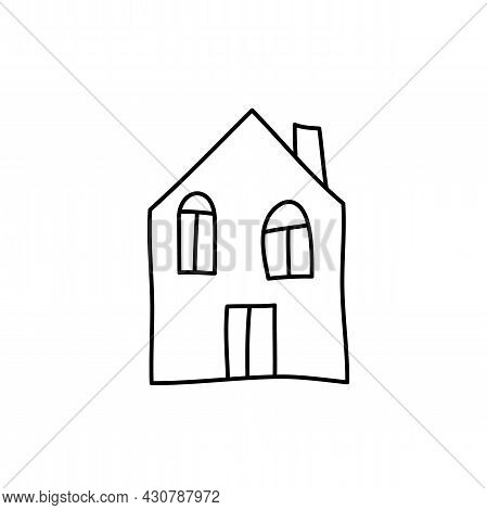 Vector Doodle Home Icon In Scandinavian Style. Architecture Construction, Village Homepage. Design I
