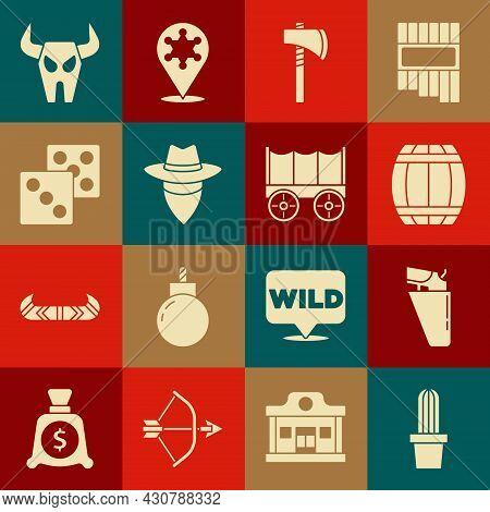 Set Cactus Peyote In Pot, Revolver Gun Holster, Gun Powder Barrel, Tomahawk Axe, Cowboy, Game Dice,