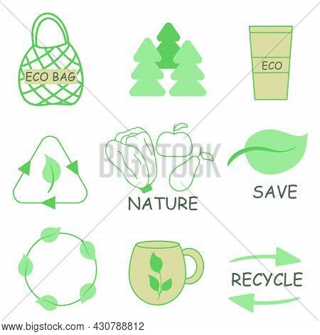 Eco Friendly Vector Illustration Set. Conservation Of Natural Resources, Processing, Care For The En