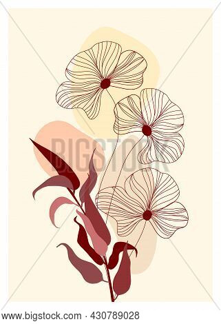 Botanical Wall Art Vector Poster. Artistic Drawing Of Tropical Leaves With Abstract Shapes. Plant Ar