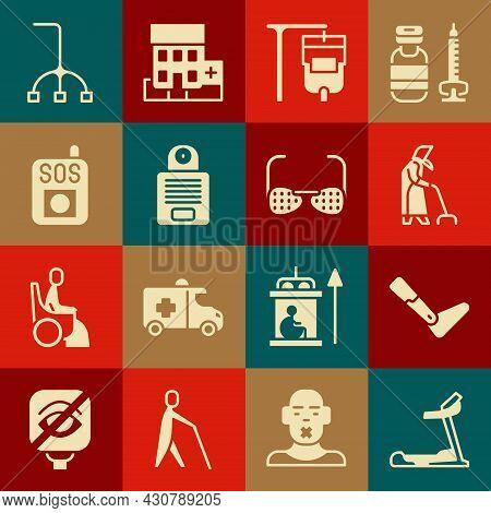 Set Treadmill Machine, Prosthesis Leg, Grandmother, Iv Bag, Intercom, Press Sos Button, Walking Stic