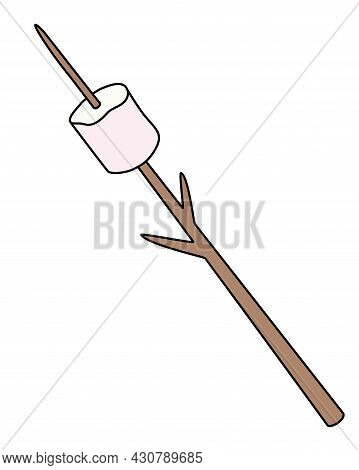 Marshmallows Strung On A Frying Stick - Vector Full Color Illustration. Marshmallows - Sweet Fried M