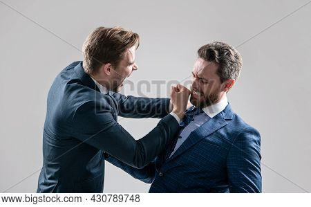 Two Angry Businessmen Punching In Fight And Arguing Having Struggle For Leadership, Confrontation.