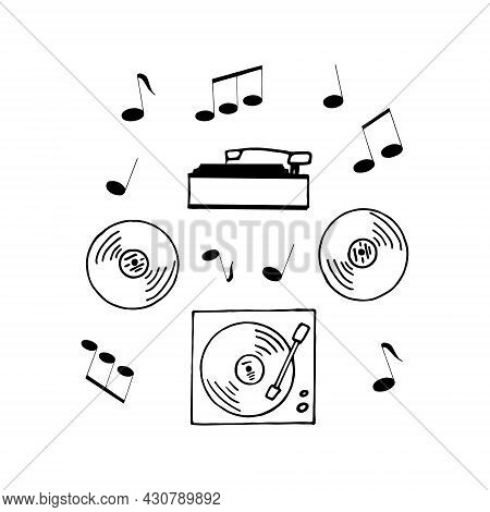 Turntables And Vinyl Record And Musical Notes Around. Hand Drawn In Doodle Style. Vector, Scandinavi