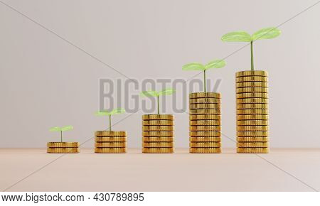 Increasing Growth Coins Stacking With Plant , Investment Profit And Dividend Money From Saving Conce