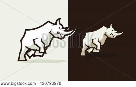 Illustration Angry Rhino Logo Design Inspiration Template