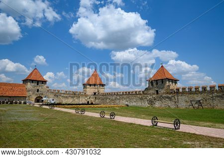 Tighina, Transnistria, Moldova - July 2021: Inside view of old medieval Turkish and Russian Bender fortress on the Dniester river