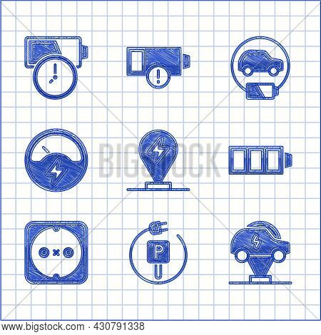 Set Charging Parking Electric Car, Electric, Battery Charge, Electrical Outlet, Voltmeter, And Icon.