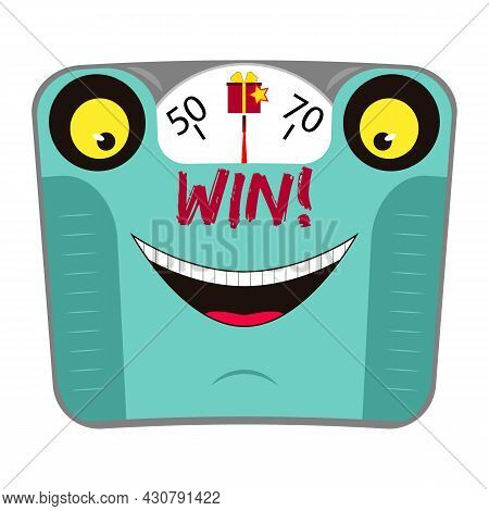 Funny Mechanical Body Weight Scale With Face And Smile. Win Over Excess Weight. Concept Healthy Life