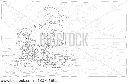Happy Little Boy Playing Pirate On A Raft With A Sail With Jolly Roger And A Toy Steering Wheel On A