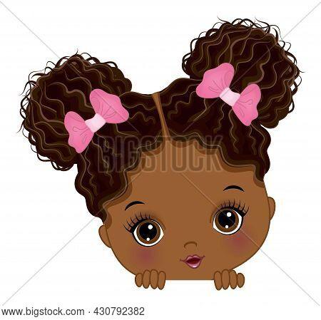 Cute Little African American Baby Girl Playing Peek A Boo. Black Girl Is Cute With Two Buns. Peekabo