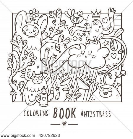 Coloring Book Antistress With Funny Cute Cartoon Monsters And Plants. Doodle Print With Joyful Anima