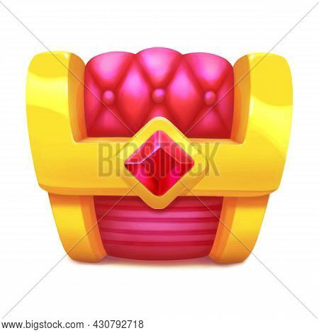 Closed Gold Treasure Chest With Ruby Isolated On White Background. Game Icon In Cartoon Style. Pirat