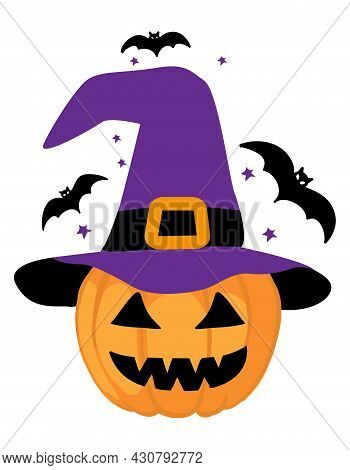 Little Pumpkin With Witch Hat - Hand Drawn Pumpkin With Halloween Bats. Autumn Color Poster. Good Fo