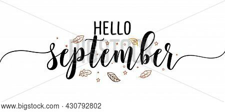 Hello September - Inspirational Happy Fall, Autumn Beautiful Handwritten Quote, Gift Tag, Lettering