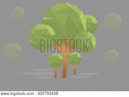 Geometric Vector Trees Vector Low Poly. Abstract Vector Low Poly Illustration.