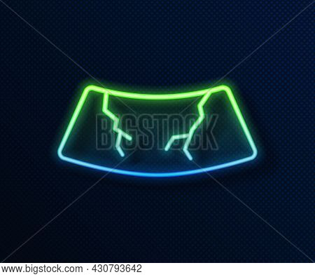 Glowing Neon Line Broken Windshield Cracked Glass Icon Isolated On Blue Background. Vector