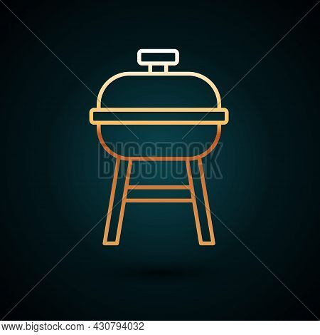 Gold Line Barbecue Grill Icon Isolated On Dark Blue Background. Bbq Grill Party. Vector
