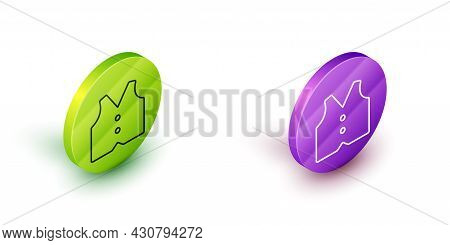 Isometric Line Waistcoat Icon Isolated On White Background. Classic Vest. Formal Wear For Men. Green