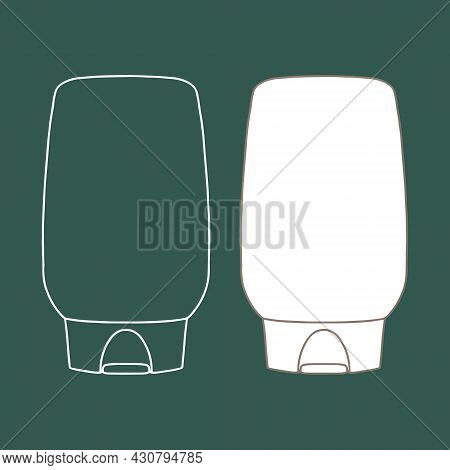 Linear Bottle Of Shampoo, Balsam, Cream, Lotion Or Other Cosmetic Product. Cosmetic. Vector Illustra
