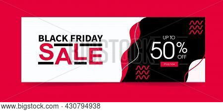 Black Friday Sale. In Pink And Black Toness. With 50 Percent And Button. Vector Template Banner.