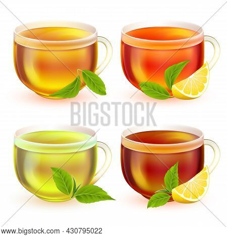 Realitic Vector Tea Cups Set. Transparent Glass Cup Of Tea With Handle And Tea Isolated On White Bac