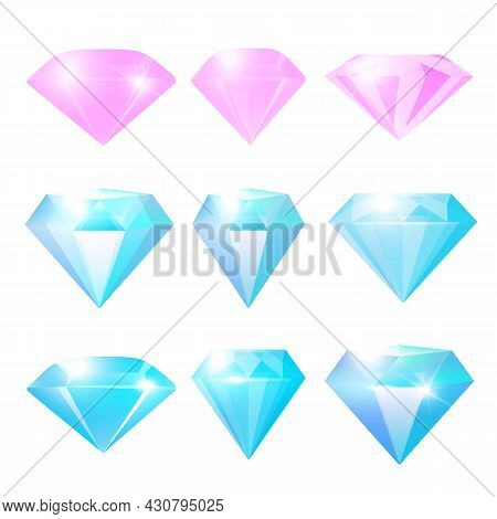 Diamonds Set  Isolated On White Background. Jewels Or Brilliants Collection. Realistic 3d Glossy Gla