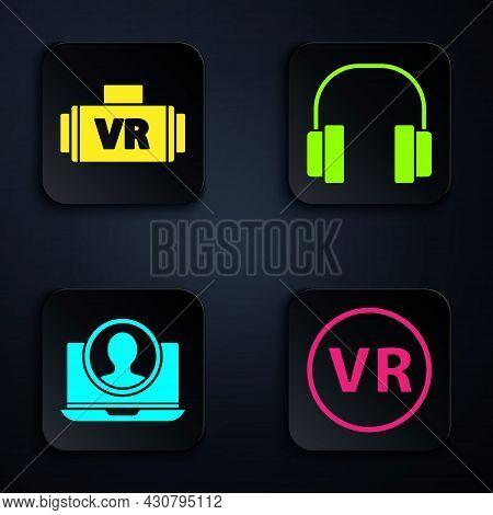 Set Virtual Reality Glasses, Virtual Reality Glasses, Create Account Screen And Headphones. Black Sq