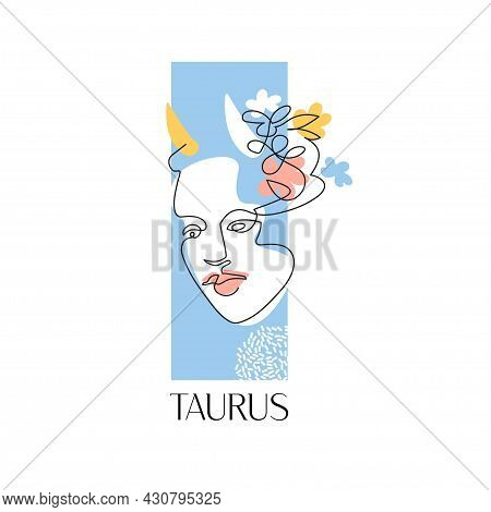 Taurus Zodiac Sign. The Symbol Of The Astrological Horoscope. Vector Illustration. Portrait Of A Gir