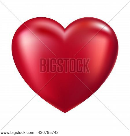 Big Red Heart On White Background. Valentine's Day Sign. Bright Vector Illustration Of Valentine Day