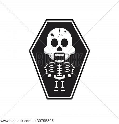 Cute Skeleton Halloween In Coffin Cartoon Icon Illustration. Design Isolated Flat Cartoon Style