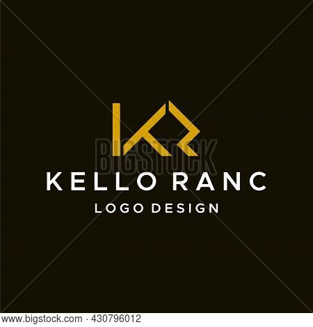 Minimalist And Geometric Logo About The Letter Kr. Eps 10, Vector