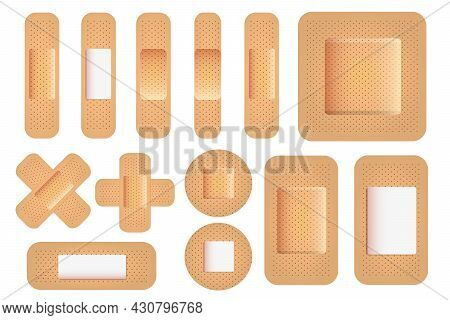 Realistic Vector Plaster Set. Medical Plasters Isolated On White Background. Adhesive Strip Bandage.