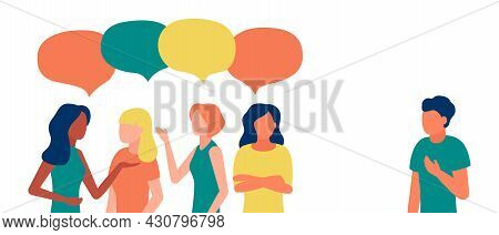 Group Of People Woman Communicate, Ignoring, Bullying, Shaming, Hate, Abuse Male Outcast. Loneliness