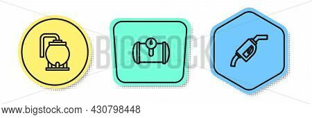 Set Line Oil Tank Storage, Gas For Vehicle And Gasoline Pump Nozzle. Colored Shapes. Vector