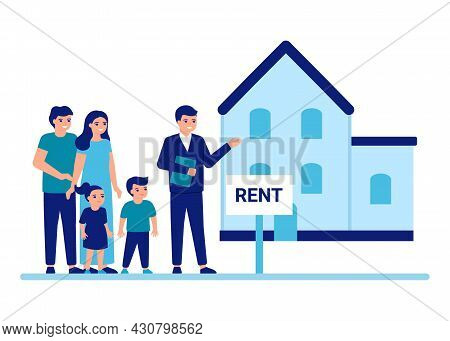 Family Buy Or Rent Home With Help Agent Property Estate. House Rent Advisor And Services Concept. Mo