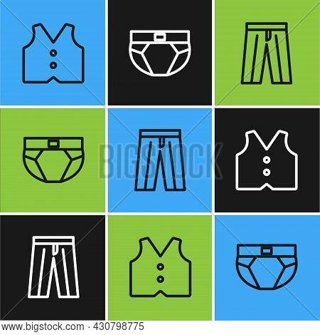 Set Line Waistcoat, Pants And Men Underpants Icon. Vector
