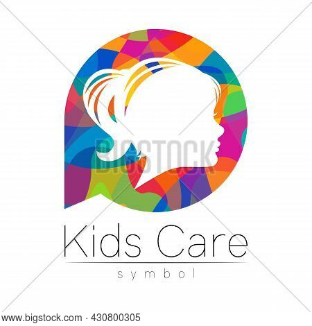 Child Girl Vector Logotype In Rainbowcolor Circle. Silhouette Profile Human Head. Concept Logo For P