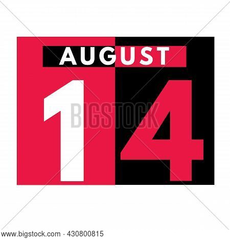 August 14 . Modern Daily Calendar Icon .date ,day, Month .calendar For The Month Of August