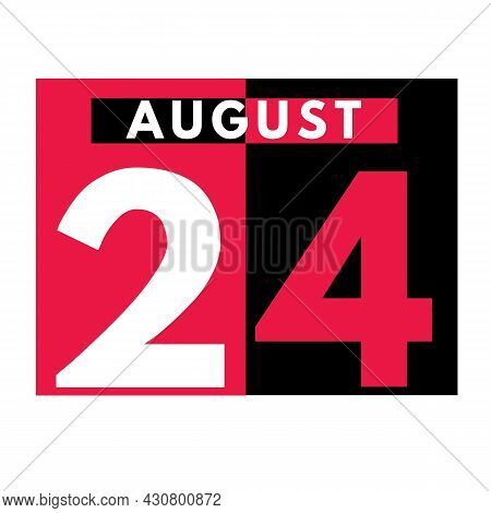 August 24 . Modern Daily Calendar Icon .date ,day, Month .calendar For The Month Of August