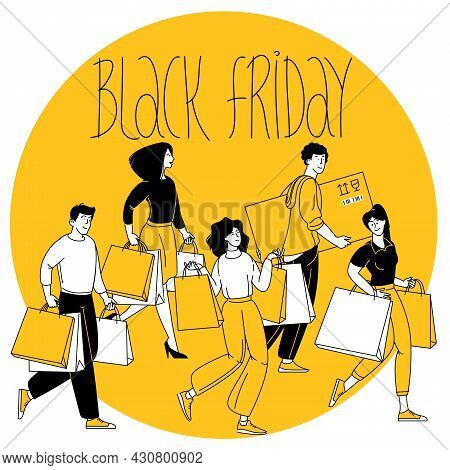 Happy Shopping. Black Friday Sale Event. Flat Cartoon People Characters With Shopping Bags. Big Disc