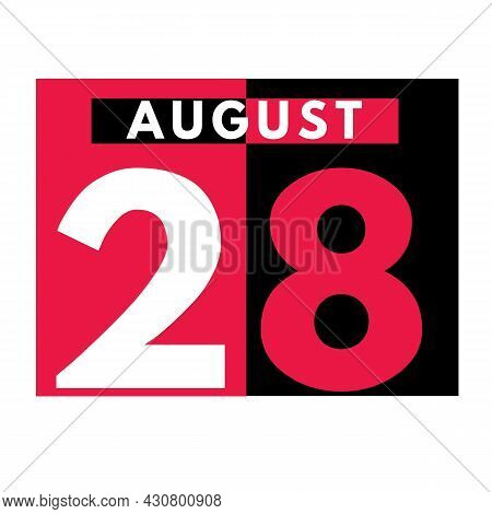August 28 . Modern Daily Calendar Icon .date ,day, Month .calendar For The Month Of August