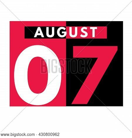 August 7 . Modern Daily Calendar Icon .date ,day, Month .calendar For The Month Of August