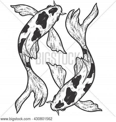 Two Fish Koi Carp , Moving On Circle. Sketch Scratch Board Imitation Coloring. Engraving Vector Illu