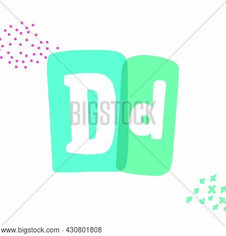 D Letter Typewriter-inspired Logo With Bold Slab Serif Letters In Colorful Frames. Hand-drawn Style