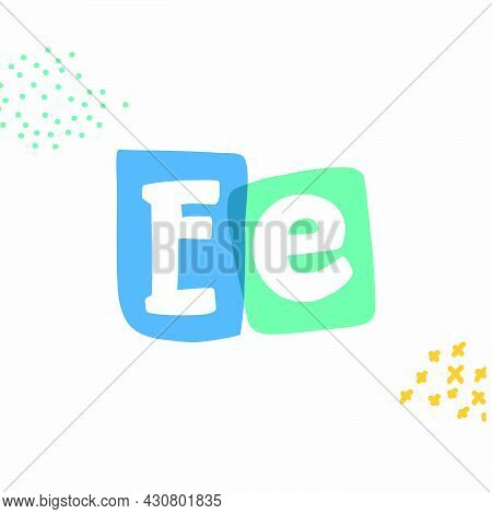 E Letter Typewriter-inspired Logo With Bold Slab Serif Letters In Colorful Frames. Hand-drawn Style